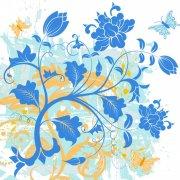 蓝色渐变花朵