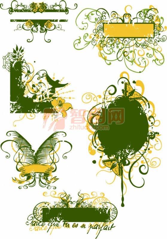 綠色花紋展示