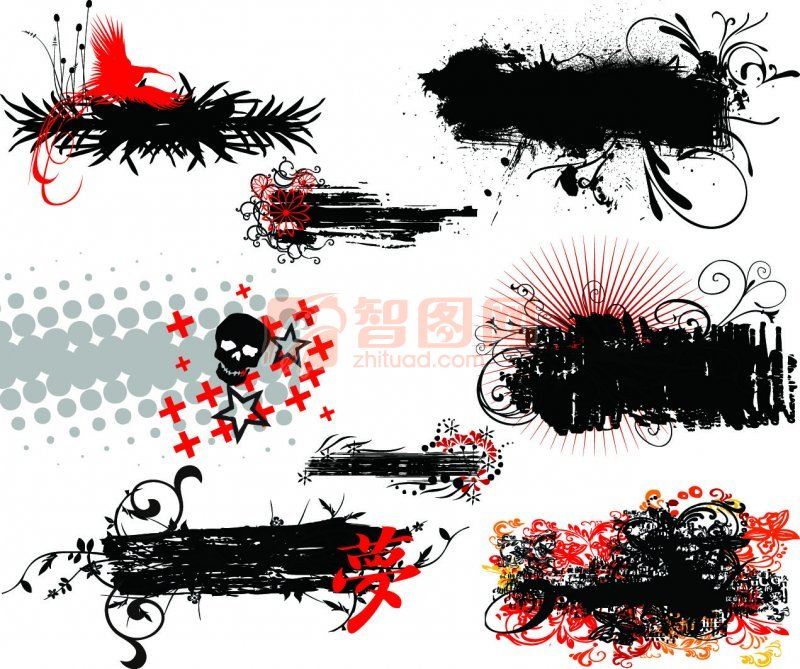 黑色花纹展示