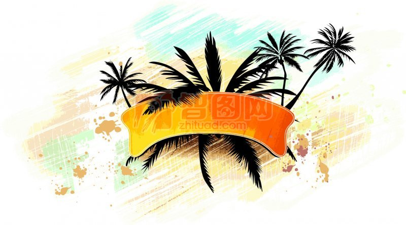 花纹花边  关键词: 黑色线条 椰子树元素 黄色条纹 白色背景 花纹设计