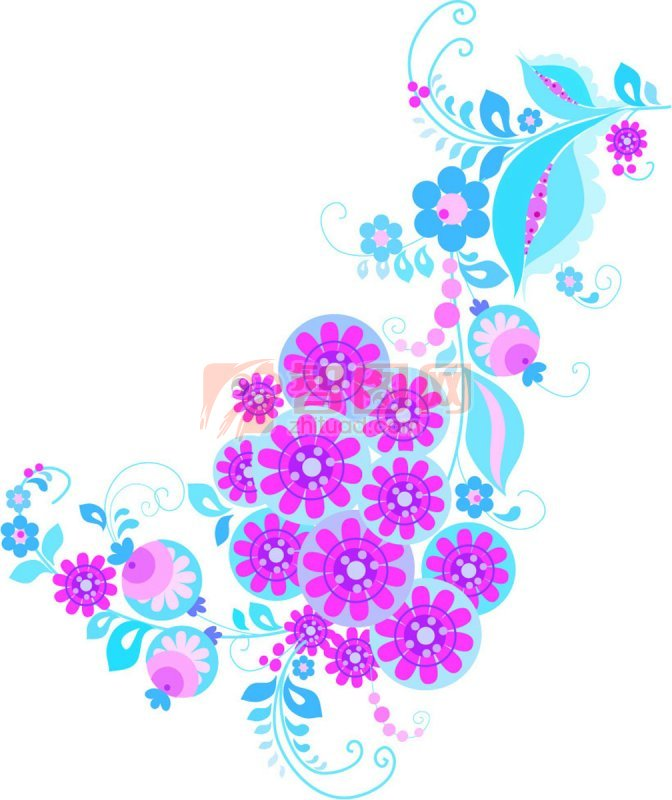 紫紅色花朵花紋