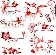 暗紅色花紋設計