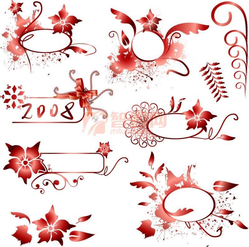 暗红色花纹设计