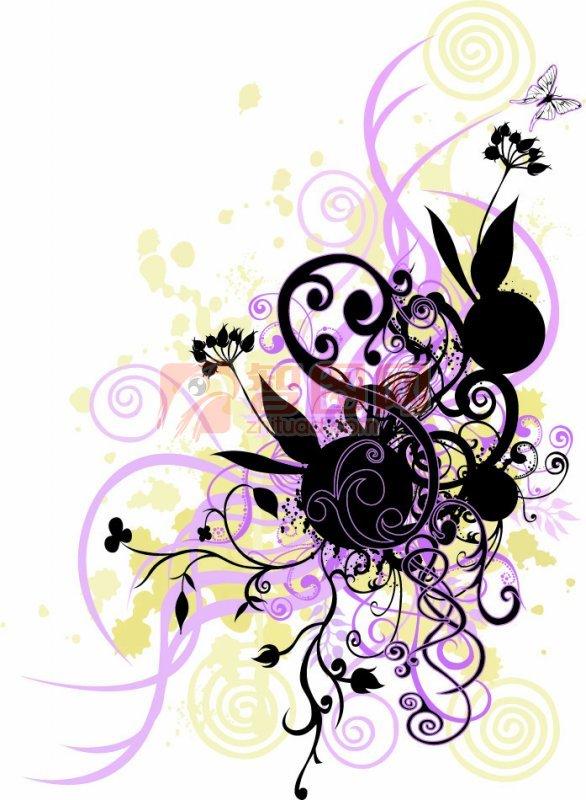 黑色线条花纹