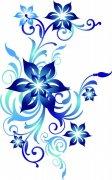 深藍色鮮花素材