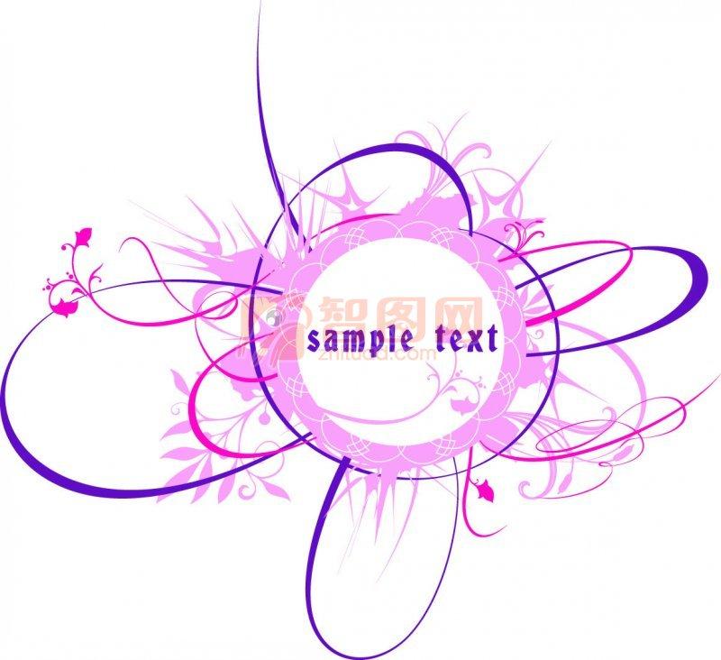 关键词: 粉红色花纹 紫色线条 白色背景 花纹图案 花纹设计 说明:-粉