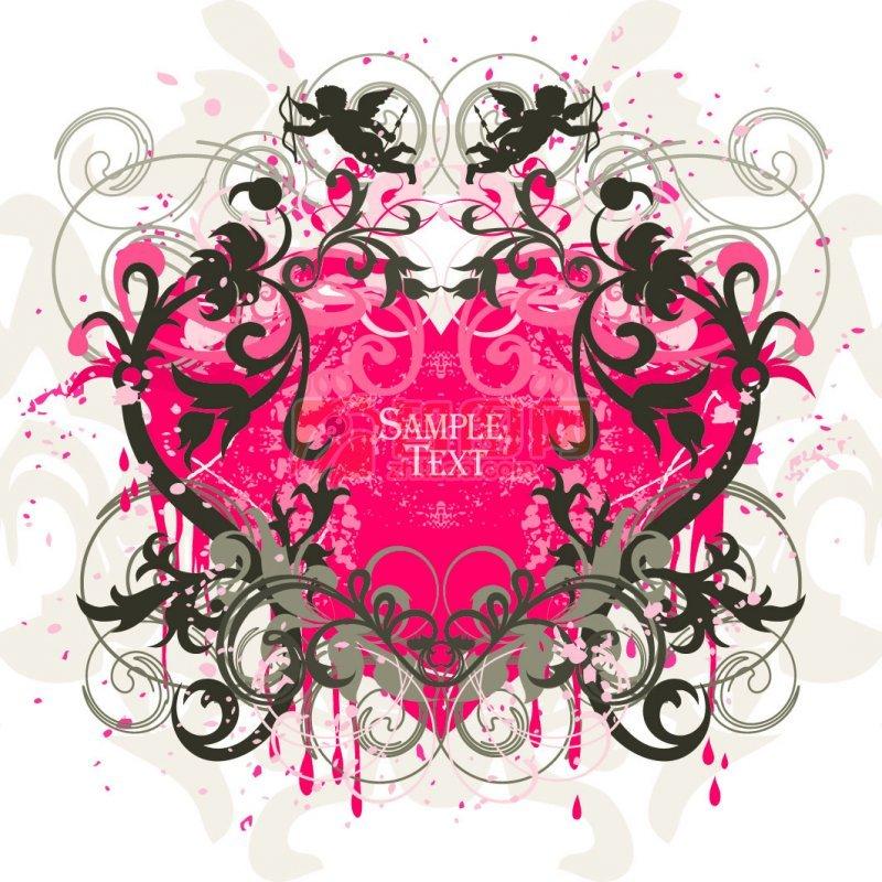 粉红色爱心花纹