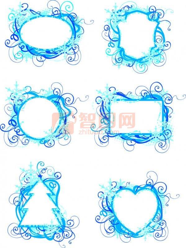 浅蓝色花纹设计