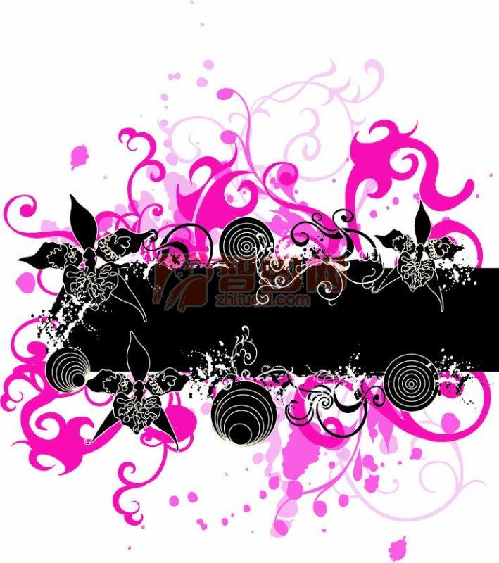 黑色和粉红色花纹