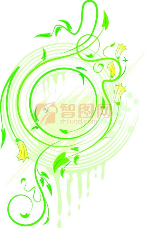 绿色花纹设计