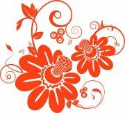 橘紅色花紋設計