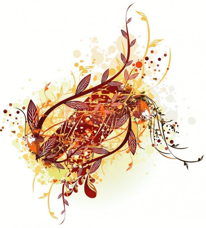 棕色花纹线条