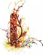 棕色花纹设计