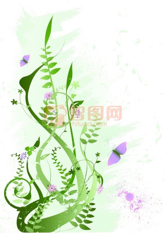 绿色花纹设计素材