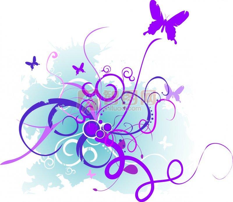 紫色花纹设计