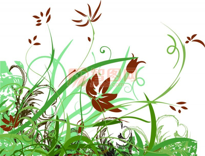 綠色線條花紋