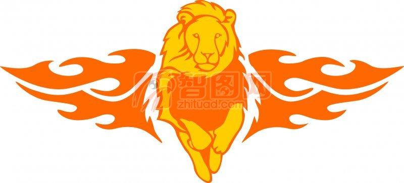 关键词: 狮子元素 黄色雄狮 橘黄色火焰 花纹元素 花纹设计素材 说明