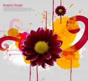 深紅色鮮花花紋