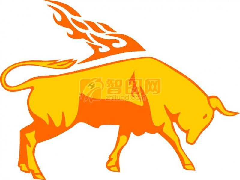 黄色公牛花纹