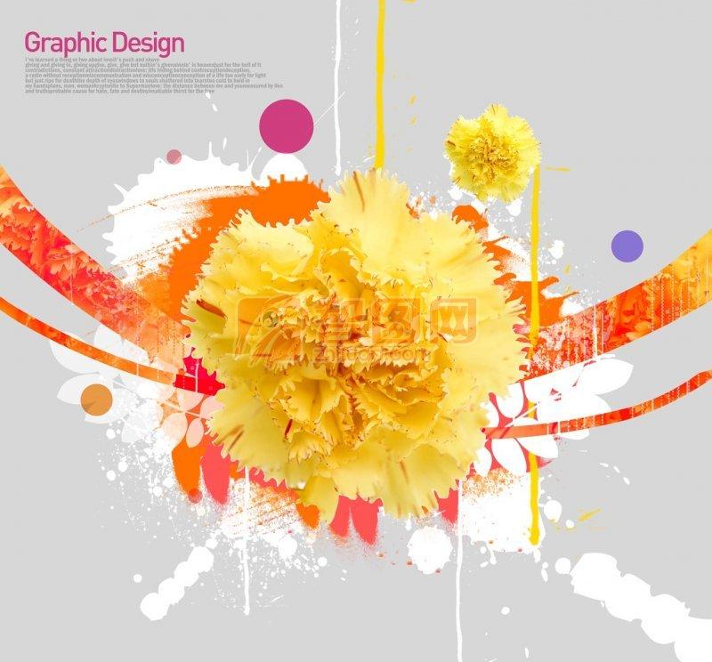 黄色鲜花花纹