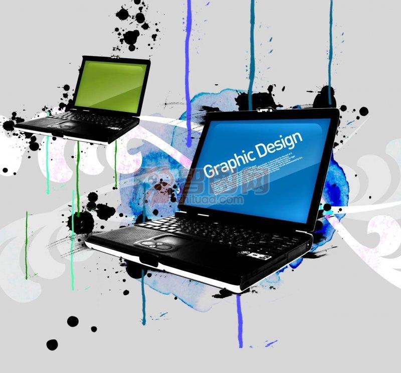 手提电脑花纹设计