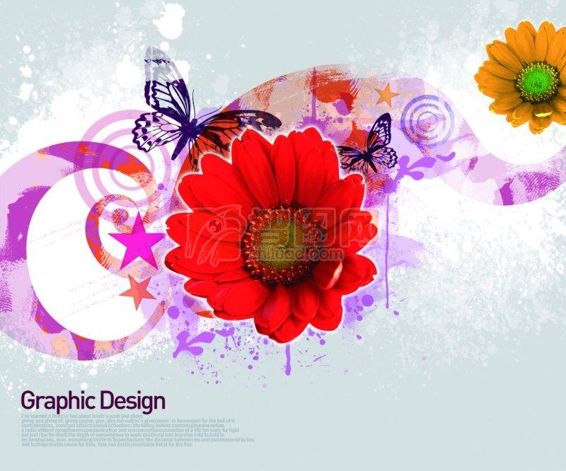鲜花花纹设计模板