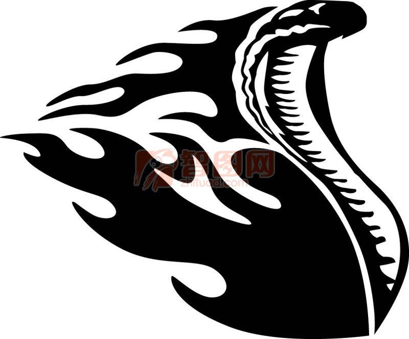 蛇花纹设计; 眼镜蛇火焰图案图片;