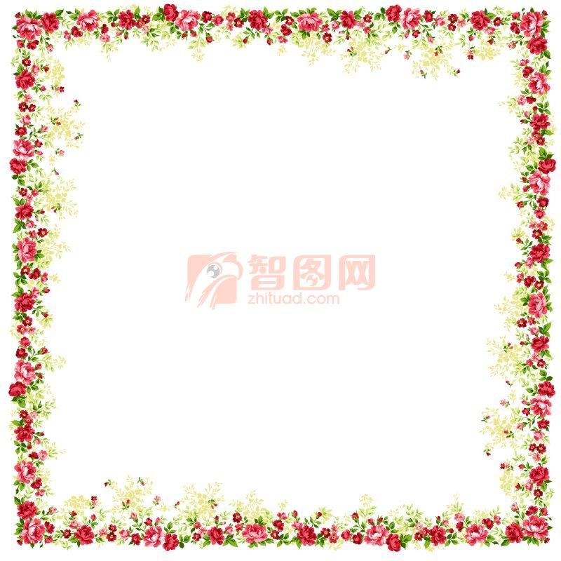 ppt红花边框素材png展示