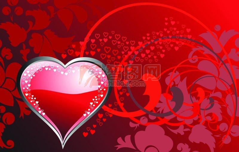 红色心形花纹