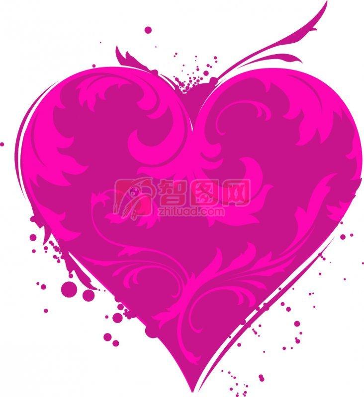 水红色心形花纹
