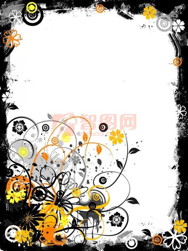 涂鸦花纹 黑色 黑色小条 黑色边框素材 黑色色调 黑色底版素材 花纹