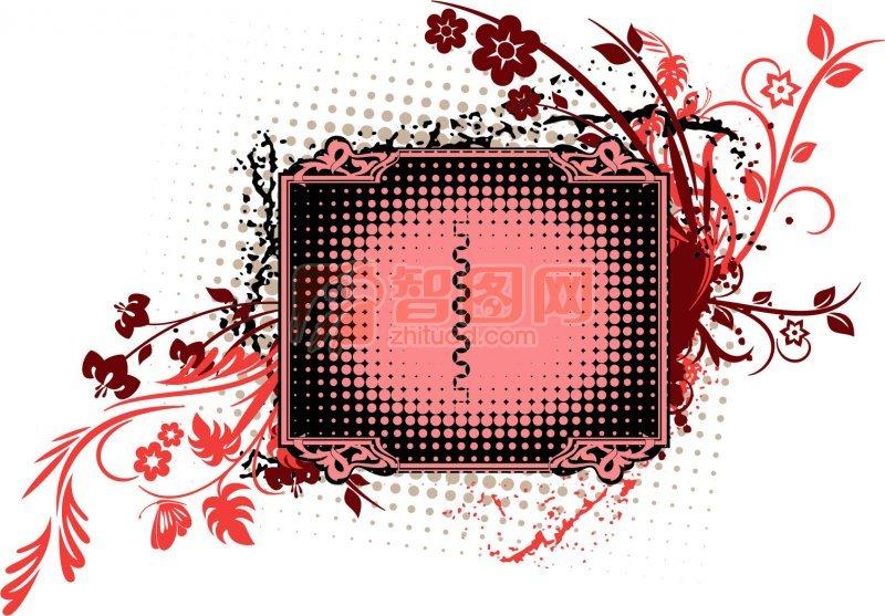 紅色花朵花紋