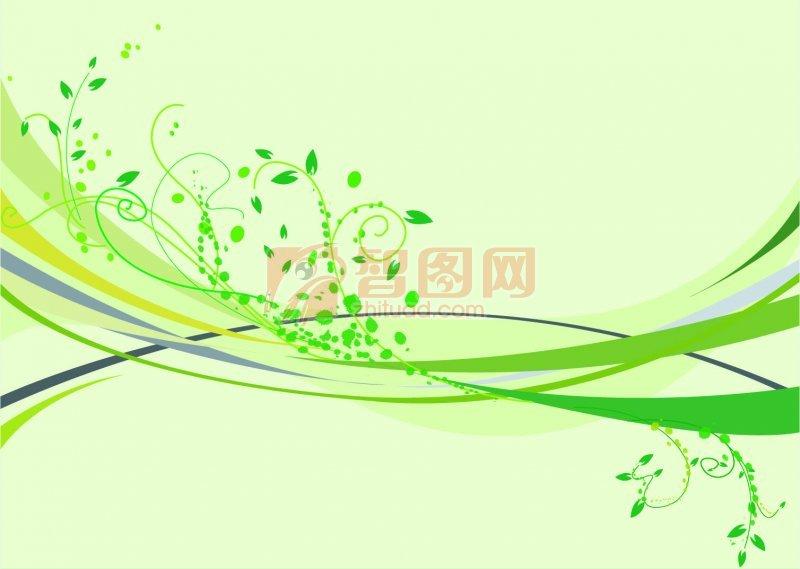 浅绿色花纹矢量图