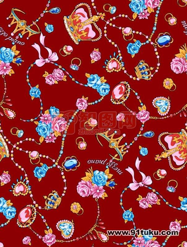 【psd】红色背景花纹素材