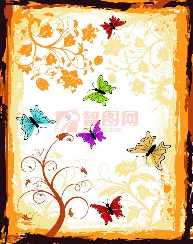 蝴蝶花紋圖