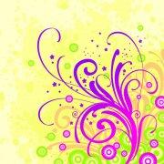 黃色紫色花紋