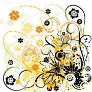 黃色歐式花紋
