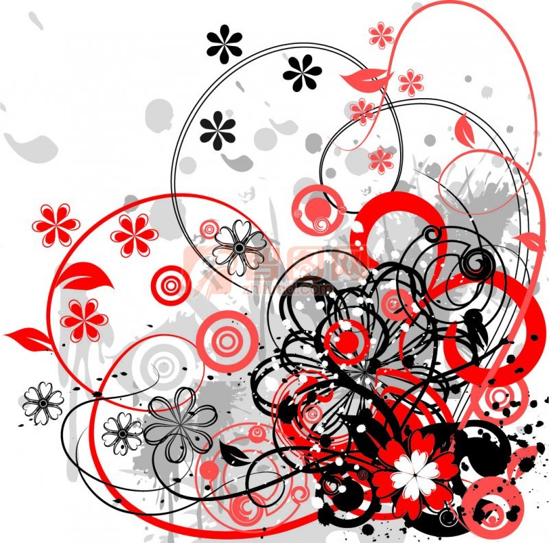红色灰色花纹