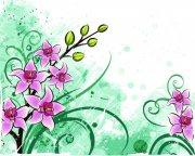 綠葉紅花素材