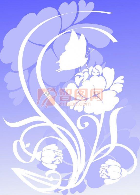 底纹边框 花纹花边  关键词: 蓝色背景 白色花纹 欧式花纹素材 说明
