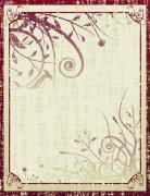 復古暗紅花紋
