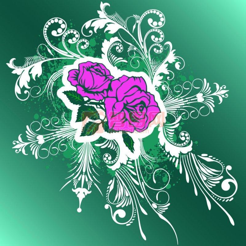 关键词: 蓝色渐变背景 白色花纹 红色花朵 欧式花纹素材 说明:-蓝色