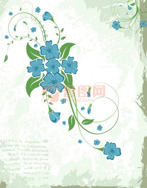 蓝绿色花纹
