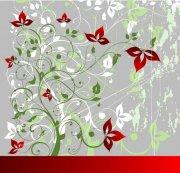 绿色红花花纹