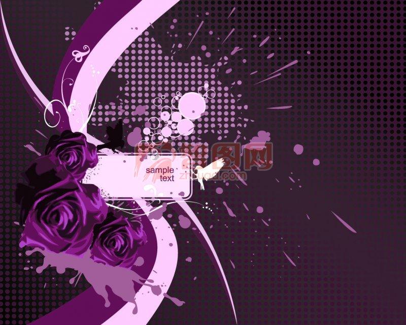 浅紫色欧式花纹贴图