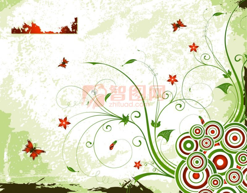 绿色背景 绿色花纹 红绿相间圆圈圈 红色蝴蝶 红色花朵 欧式花纹素材