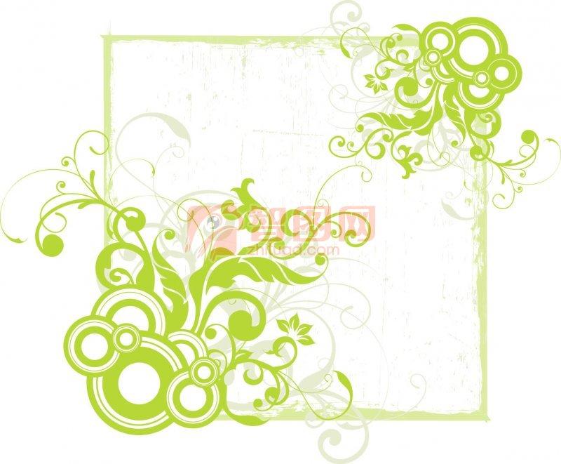简单绿色花边边框-复古绿色边框花纹   简单黑板报花边图案