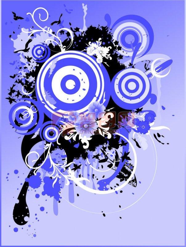 蓝色圆圈圈 黑色花纹 欧式花纹素材