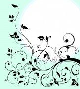 蓝色背景花纹