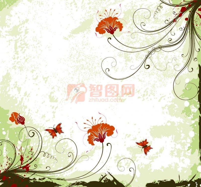 绿底红花花纹